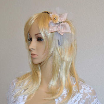 Bodacious Street Bow Veil Headband Wedding Fascinator Bridal Hair Accessory Blush Bridesmaids Woodland Flowers