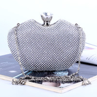 Heart Design Diamonds Women With Chains Shoulder Bags Gold Clutch Purse Evening Bags for wedding/dinner/party
