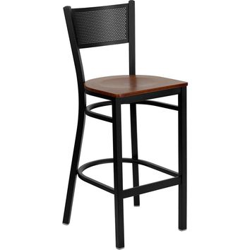 Hercules Black Grid Back Metal Restaurant Bar Stool Cherry Wood Seat