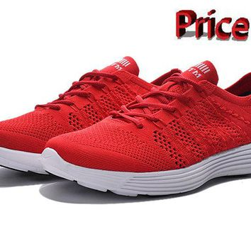 white casual shoes Nike HTM Flyknit Trainer+ Bright Crimson Black White 535089 660 shoes