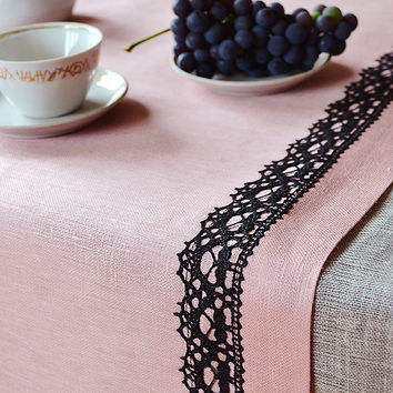CIJ SALE 20% Table Runner  Tracery Rose Pink and Black Linen Lace