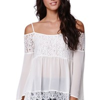 LA Hearts Lace Detail Cold Shoulder Top - Womens Shirts