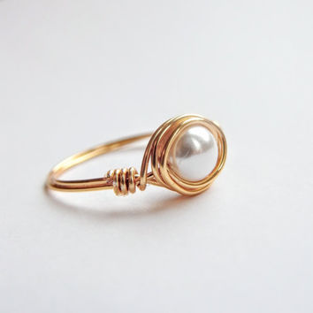 Gold Pearl Promise Ring For Daughter, Romantic Anniversary Gift For Her, Sweet 16 Rings Purity True Love Waits, June birthstone,