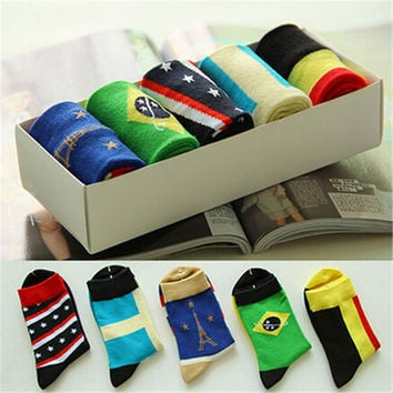 2016 New Womens Girls Comfortable Casual National Flag Sstockings (5 PCS) Socks-52