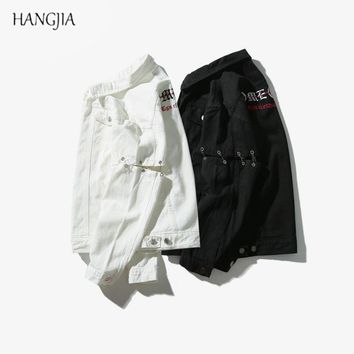 Trendy [HANGJIA] Mens Streetwear Coat Embroidery Ripped Denim Jacket Original Needle Holes Design Solid Color Loose Jackets Hip-Hop AT_94_13