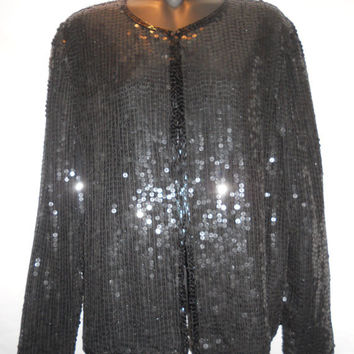 Vintage 80s Stenay Made in India 100 Percent SIlk Sequins Black Size Small Beaded