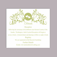 DIY Wedding Details Card Template Download Printable Wedding Details Card Editable Green Details Card Elegant Heart Information Cards Party