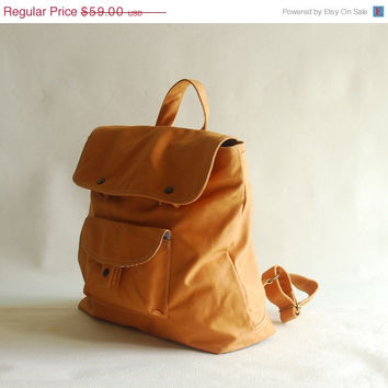 Labor Day Sale - BAGGO Unisex Backpack in Waxed Khaki Brown / Laptop / Shoulder Bag / Diaper Bag / Satchel / Rucksack / Messenger Bag