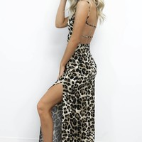 City Move Leopard Print Maxi Dress