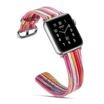 Candy Stripe Leather Watch Band for Apple Watch 38/42mm