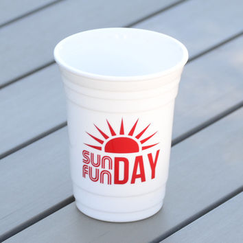 Sunday Fun Day personalized party cup | Reusable solo cup perfect for day drinking