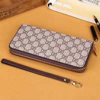"""Gucci"" Unisex Purse Retro Classic Double GG Print Zip Long Section Wallet Handbag"