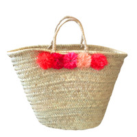 Design Darling home decor & monogrammed gifts — Pom Pom Basket Tote — Coral/Pink