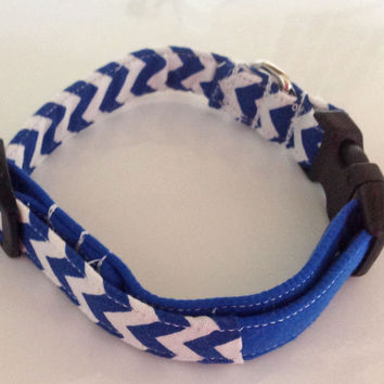 Blue & White Chevron Collar for Male or Female Dogs or Cats