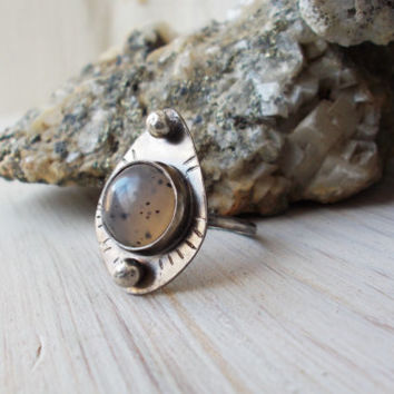 Montana agate sterling silver ring, oxidized stamped bohemian, semiprecious gemstone, artisan silversmith jewelry, size 7 3/4