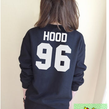Hood 96 Jumper Unisex Black or Grey S M L Tumblr Instagram Blogger