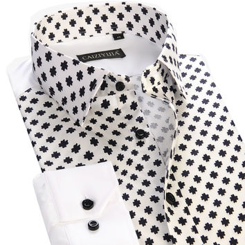 Fashion Men Casual Floral Shirts Long Sleeve Clothing Slim Fit Business Patchwork Printed Men Dress Shirts