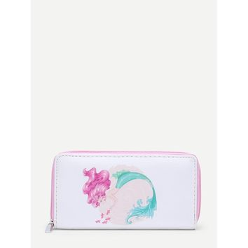 Single Mermaid Print PU Wallet