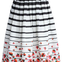 Falling Roses Striped Printed Midi Skirt Multi
