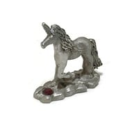 Vintage SPOONTIQUES Pewter UNICORN Figurine Protecting His Jewel Marked MR832