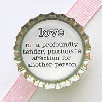 Love Dictionary Definition Bottle Cap Magnet - love definition, of love, black and white wedding favors, home decor, kitchen organization