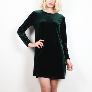Vintage 90s Dress Dark Hunter Forest Green Velvet Dress Long Sleeve 1990s Dress Babydoll Dress Soft Goth Grunge Skater Dress XS S Small M