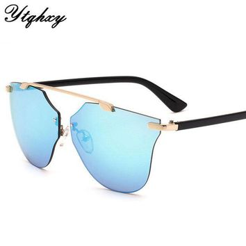 ESBU3C New Cat Eye Aviator Sunglasses Women Vintage Fashion Metal Frame Mirror Sun Glasses Boundless Style Ladies Sunglasses UV400 Y149