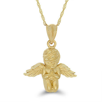 "14k soli gold angel with 20"" chain. custom item, non returnable."
