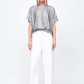 METALLIC-LOOK T-SHIRT