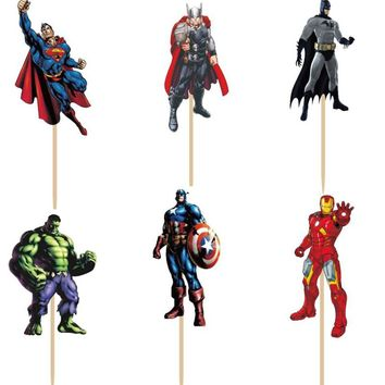 24pcs Avengers hero Superman Captain America Batman Hulk Iron man Cupcake Toppers Picks boy's birthday party decorations kids
