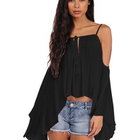 Vintage Havana Cold Shoulder Sleeve Top