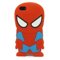 DD(TM) 3D Cartoon Cute Lovely Stylish Red Spiderman Soft Silicone Back Case Cover Protective Skin for Apple iPhone 4 4S 4G