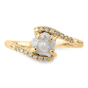 1.3 Carat Rough Diamond Ava Setting, 14k Yellow Gold