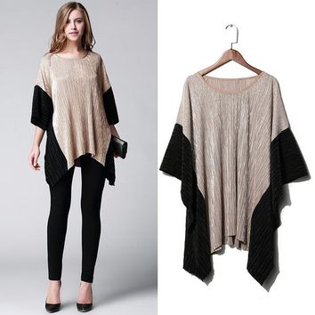 Black color Women blouses Summer Irregular O neck sleeve loose cape tops Women Clothing