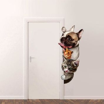 Dogs Cats Mouse 3D Wall Sticker Funny Door Window Decorations stickers for furniture and walls cartoon Animal Vinyl Decal
