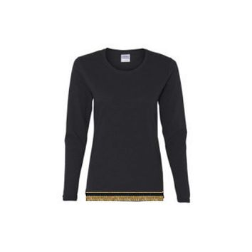 Women's Black Long Sleeve T-shirt With Fringes