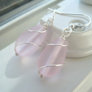 Pink Bridesmaid Set - Wire Wrapped Sea Glass Earrings - Pink Teardrop Jewelry - Recycled Glass Earrings - Light Pink Jewelry - Pink Glass
