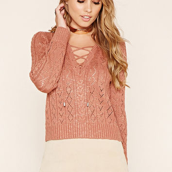 Lace-Up Cable Knit Sweater