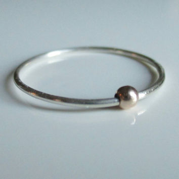 Sterling Silver and Rose Gold Fidget Ring, Worry Ring, Anxiety Ring