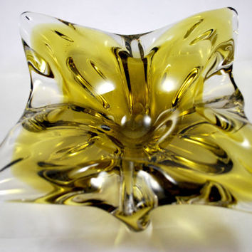 Blown Glass Bowl Yellow and Clear Glass Signed Chalet , Collectible Art Glass 1960