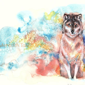 4x6 Wolf desk print original watercolor painting wolf art desk art for him blue boy nursery art office artwork forest theme animal art print