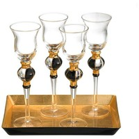 One Kings Lane - Serve Up a Scare - S/4 Radiance Glasses & Tray