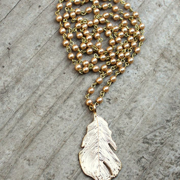 Long Gold Necklace, Extra Long Necklace, Metal Leaf Pendant, Gold Pearl Necklace, Boho Long Necklace, Long Layer Necklace