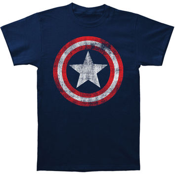 Captain America Men's  Distressed Shield Slim Fit T-shirt Navy