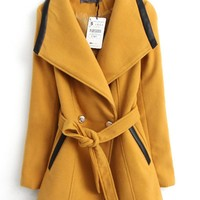 Large Collar PU Splicing Woolen Overcoat,Cheap in Wendybox.com