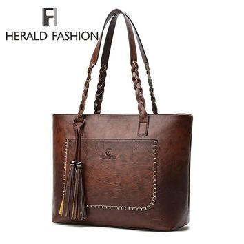 Herald Fashion Large Capacity Causal Shoulder Bags for Women Fall Leather Fringe Purse Handbags Retro Tassel Shopper Tote