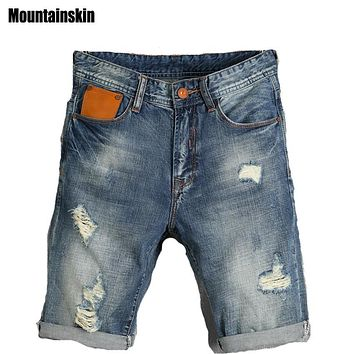 Mountainskin 2017 Summer New Men's Ripped Fashion Jeans Hole Pop Jogger Male Denim Shorts Thin Casual Brand Male Jeans,SA171
