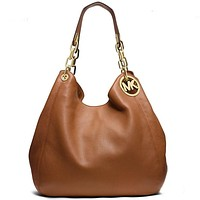 Michael Kors MK Women Leather Zipper Shopping Shoulder Bag Handbag