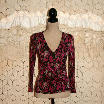 Long Sleeve Silk Top Pink Brown Floral Blouse Wrap Top Floral Print Semi Sheer V Neck Dressy Sexy Sigrid Olsen Small Medium Womens Clothing