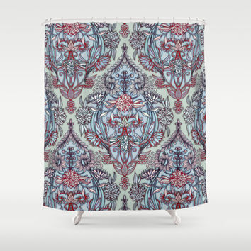 Red And Navy Shower Curtain. Botanical Moroccan Doodle Pattern in Navy Blue  Red Grey Shower Curtain by micklyn Best Products on Wanelo